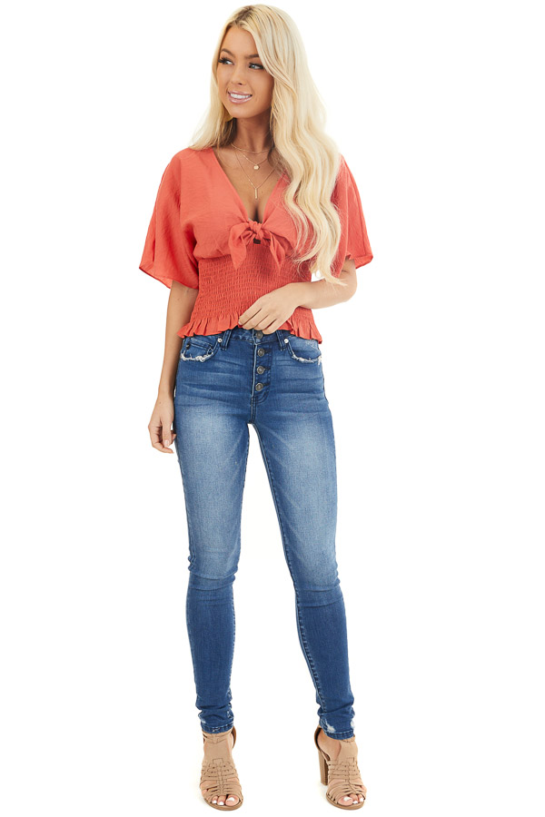 Terracotta Smocked Crop Top with Short Sleeves and Front Tie front full body