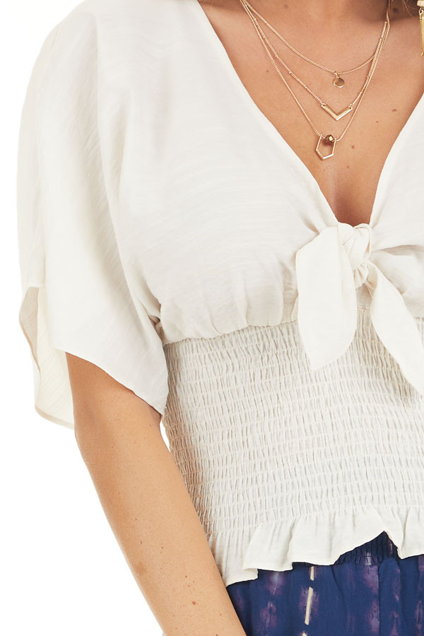 Cream Smocked Crop Top with Short Sleeves and Front Tie detail
