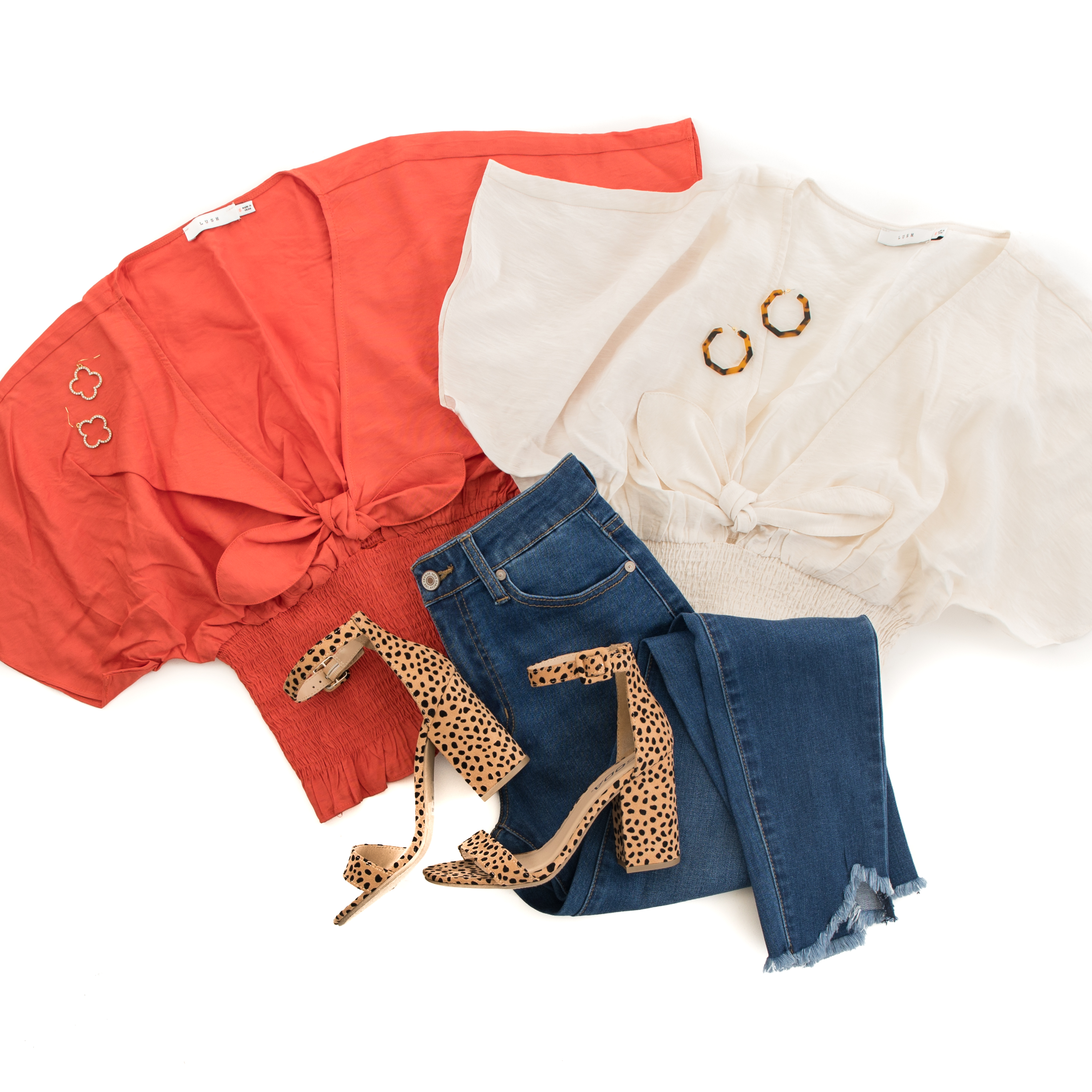 Cream Smocked Crop Top with Short Sleeves and Front Tie