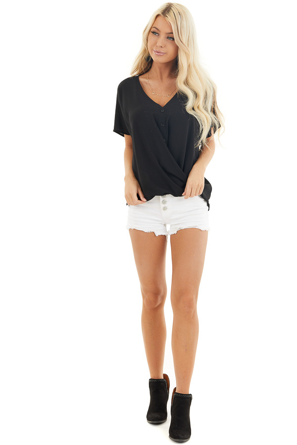 Black Button Down V Neck Top with Bubble Hemline front full body