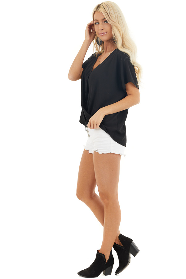Black Button Down V Neck Top with Bubble Hemline side full body