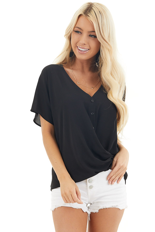 Black Button Down V Neck Top with Bubble Hemline front close up