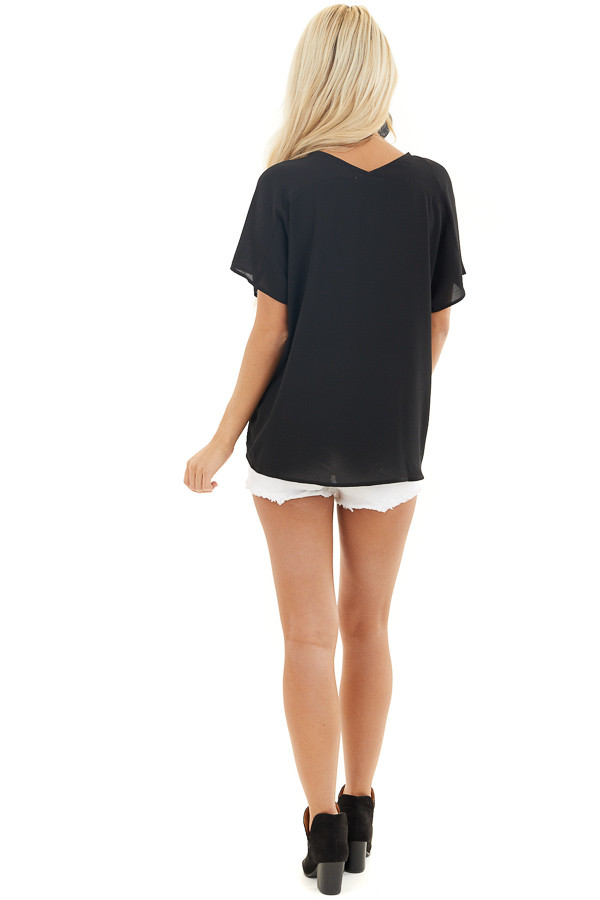 Black Button Down V Neck Top with Bubble Hemline back full body