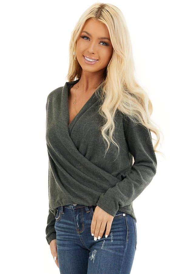 Hunter Green Long Sleeve Surplice Knit Top front close up