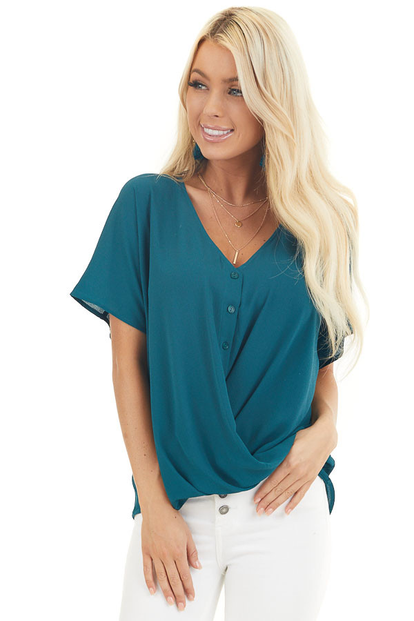 Pine Green Button Down V Neck Top with Bubble Hemline front close up