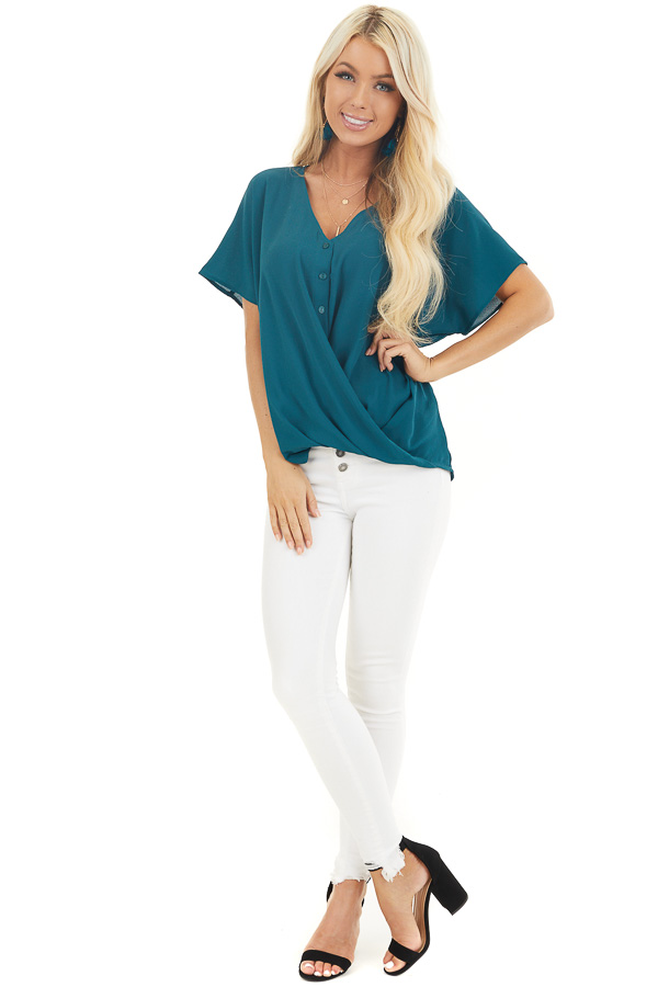 Pine Green Button Down V Neck Top with Bubble Hemline front full body