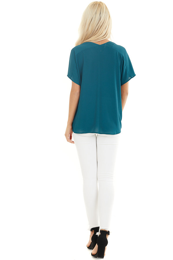 Pine Green Button Down V Neck Top with Bubble Hemline back full body
