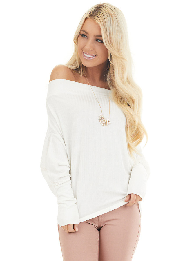 Off White Ribbed Knit Off Shoulder Top with Long Sleeves front close up