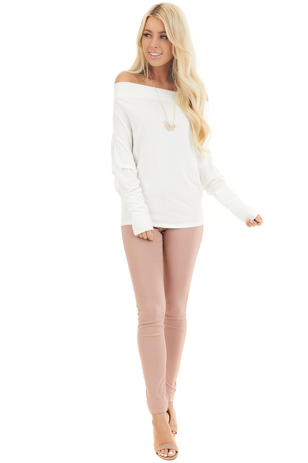 Off White Ribbed Knit Off Shoulder Top with Long Sleeves front full body