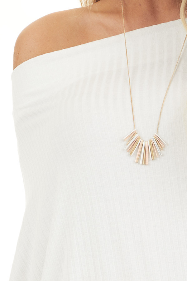 Off White Ribbed Knit Off Shoulder Top with Long Sleeves detail