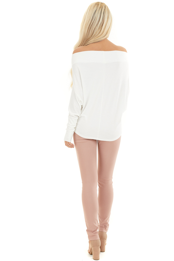 Off White Ribbed Knit Off Shoulder Top with Long Sleeves back full body
