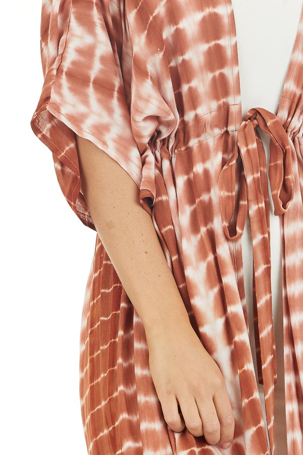 Tawny Orange Tie Dye Lightweight Kimono with Short Sleeves detail