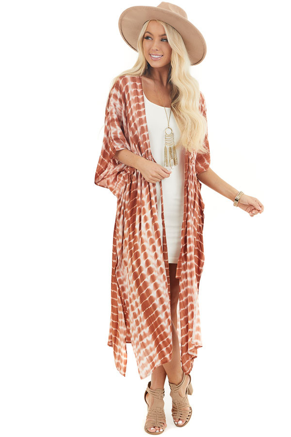 Tawny Orange Tie Dye Lightweight Kimono with Short Sleeves front full body