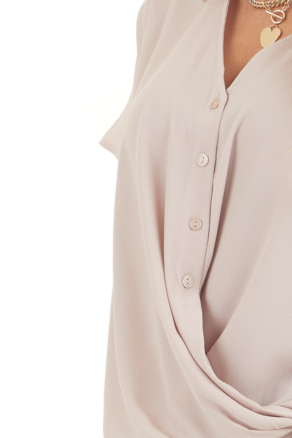Latte Button Down V Neck Top with Bubble Hemline detail
