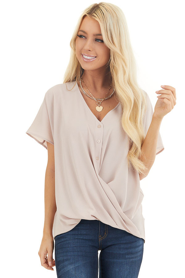 Latte Button Down V Neck Top with Bubble Hemline front close up