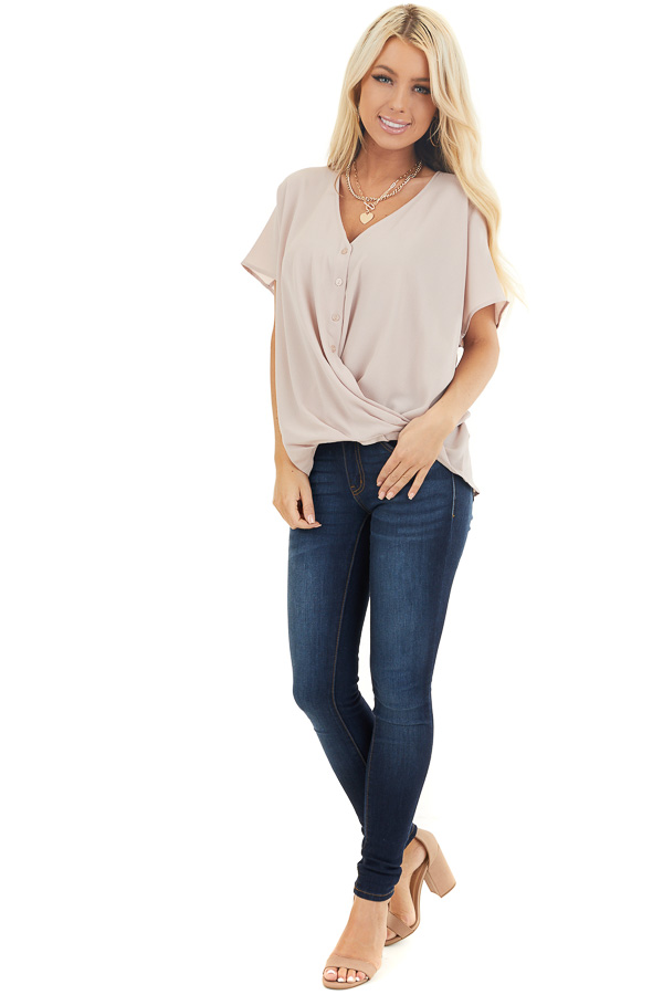 Latte Button Down V Neck Top with Bubble Hemline front full body