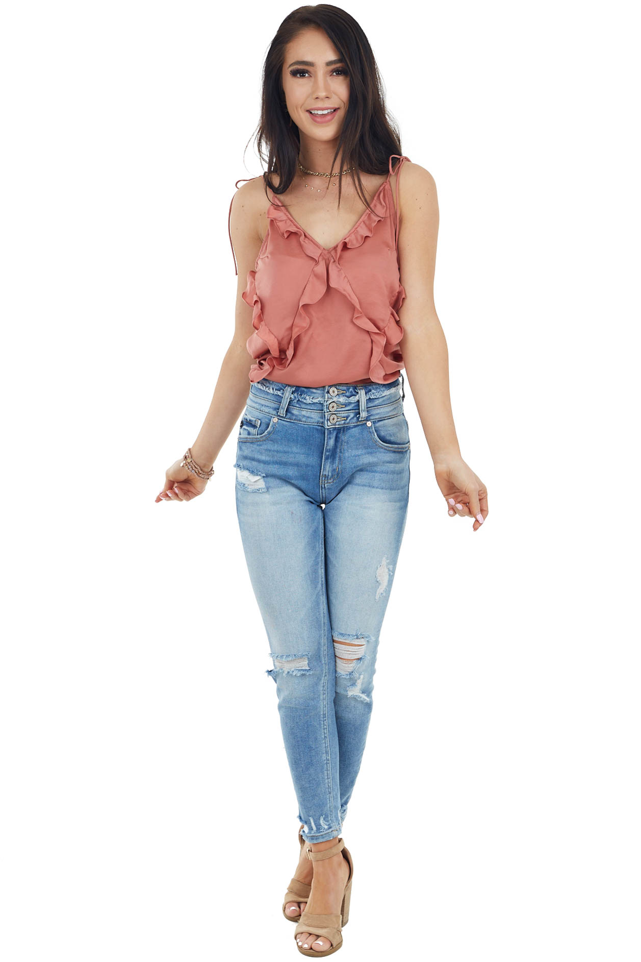 Terracotta Ruffle Tank Top with Self Tie Spaghetti Straps