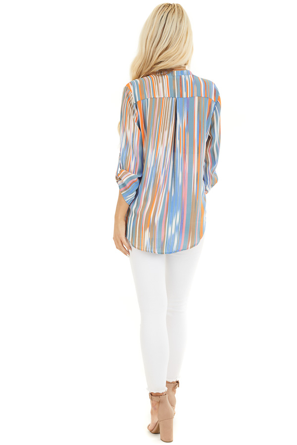 Teal Multicolor Striped V Neck Top with 3/4 Sleeves back full body