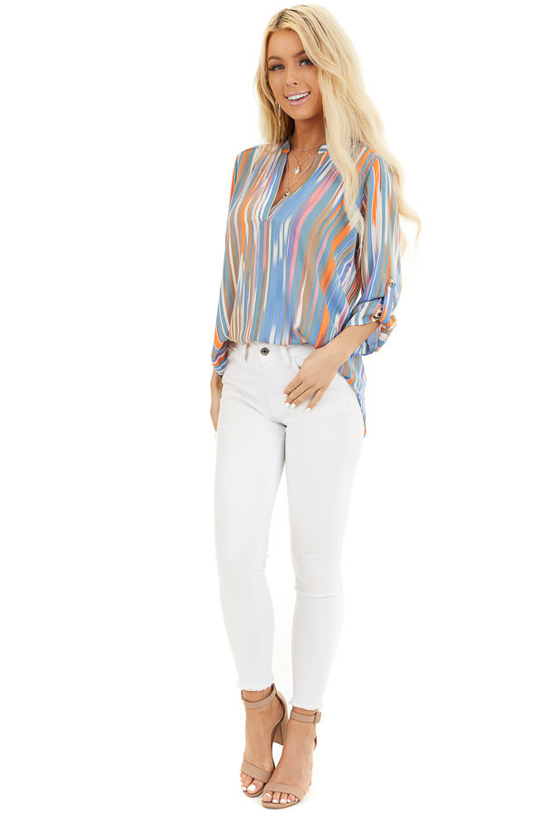 Teal Multicolor Striped V Neck Top with 3/4 Sleeves front full body