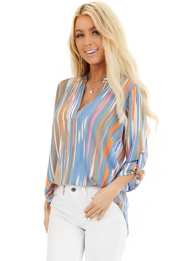 Teal Multicolor Striped V Neck Top with 3/4 Sleeves front close up