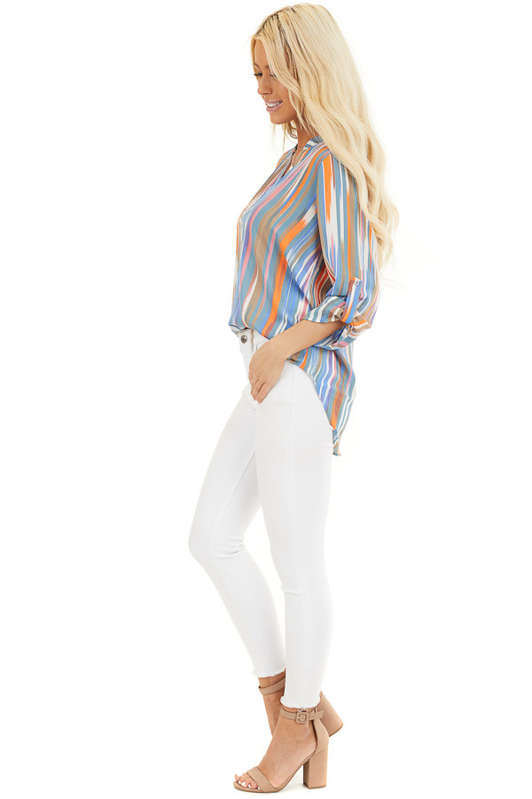 Teal Multicolor Striped V Neck Top with 3/4 Sleeves side full body