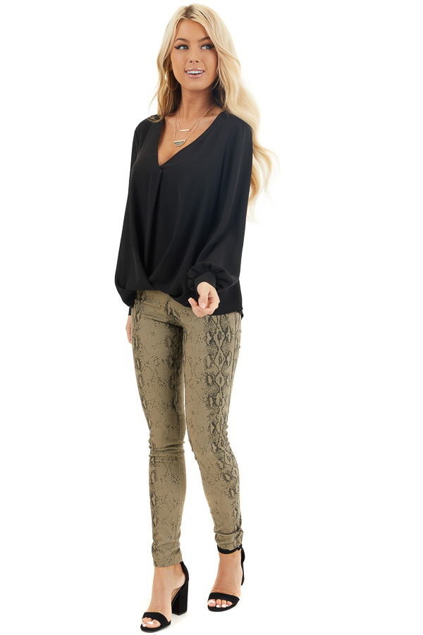 Black Long sleeve Woven Blouse with Bubble Hemline front full body