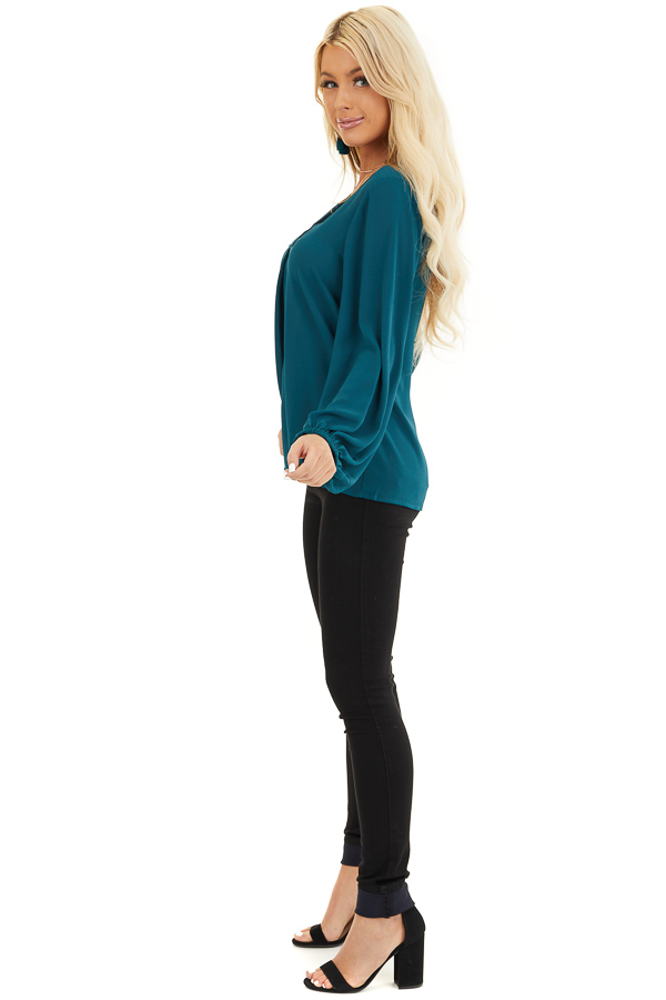 Dark Teal V Neck Woven Top with Long Puff Sleeves side full body