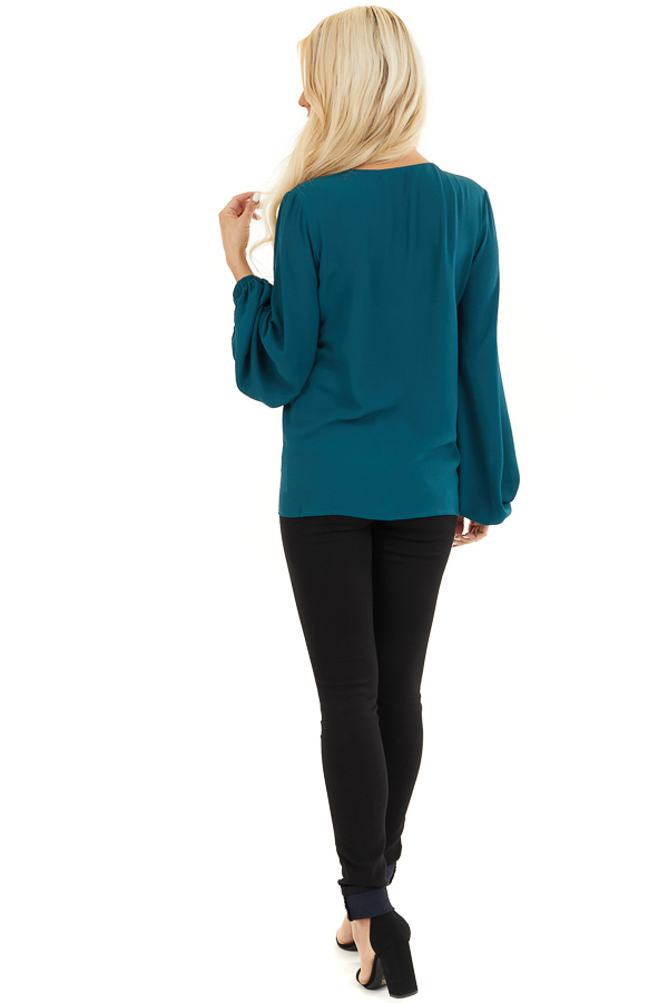 Dark Teal V Neck Woven Top with Long Puff Sleeves back full body