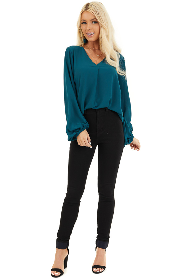 Dark Teal V Neck Woven Top with Long Puff Sleeves front full body