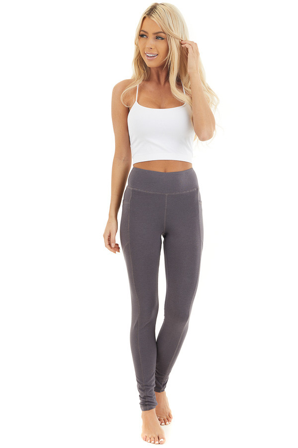 Charcoal Grey High Waisted Leggings with Side Pocket Details front full body