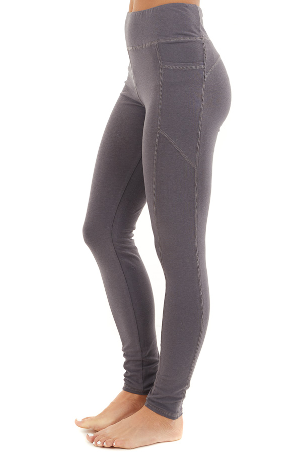 Charcoal Grey High Waisted Leggings with Side Pocket Details side view