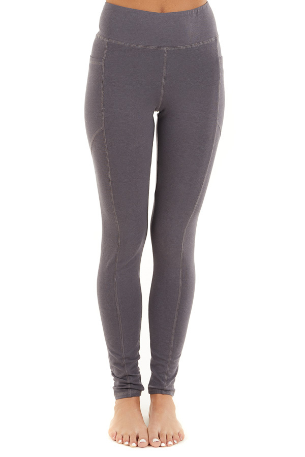 Charcoal Grey High Waisted Leggings with Side Pocket Details front view