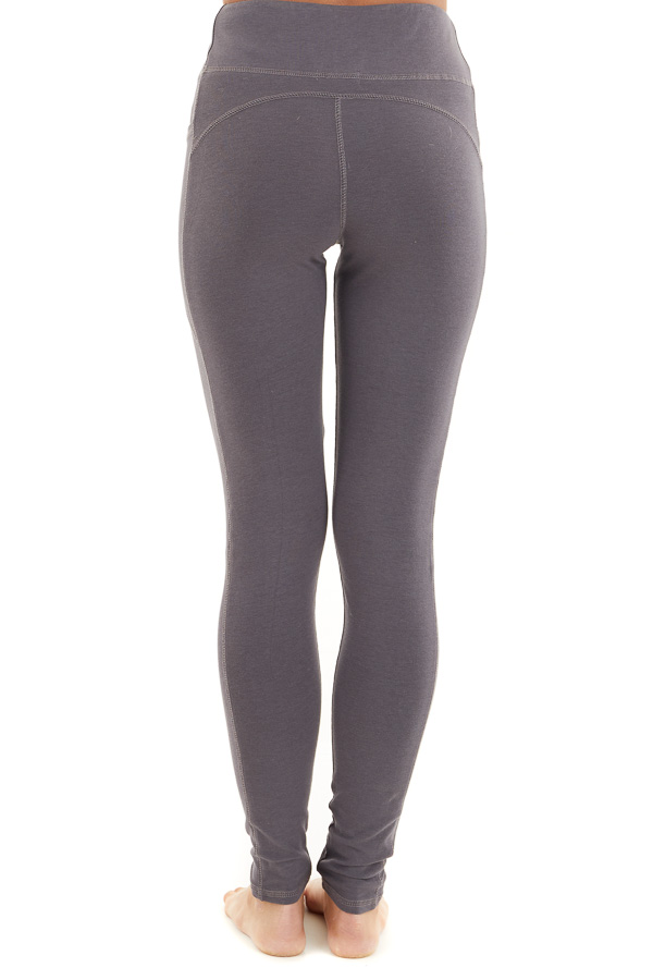 Charcoal Grey High Waisted Leggings with Side Pocket Details back view