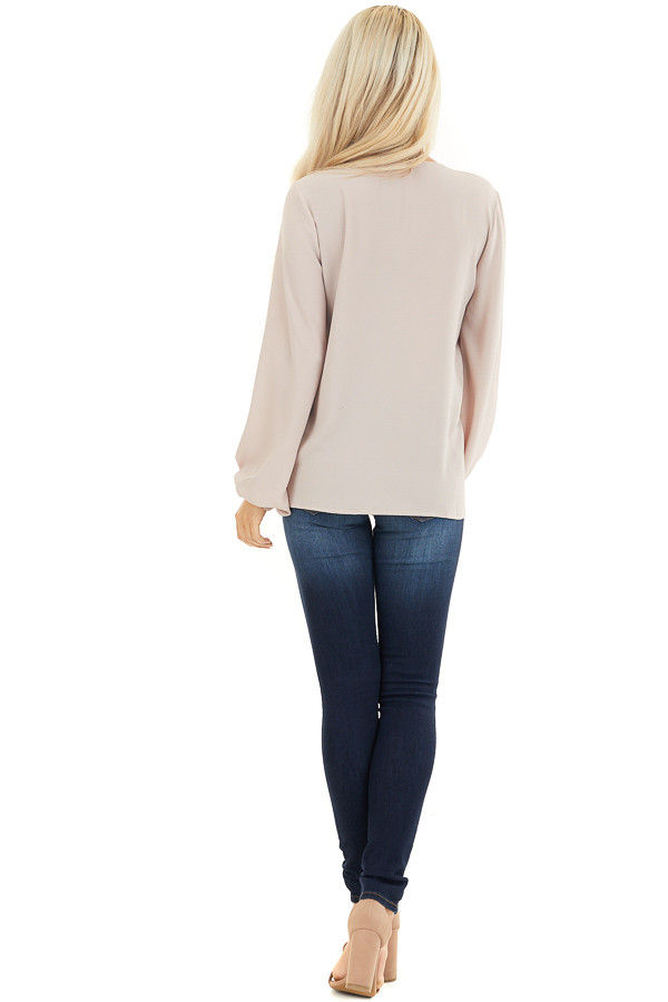 Latte V Neck Woven Top with Long Puff Sleeves back full body