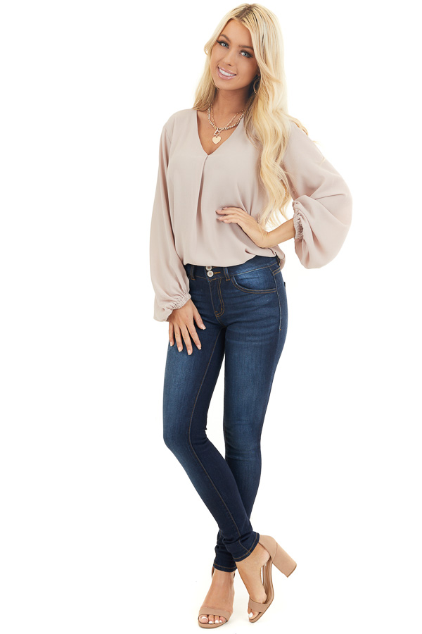 Latte V Neck Woven Top with Long Puff Sleeves front full body
