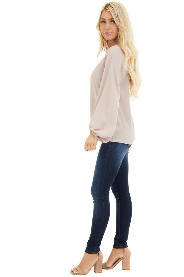 Latte V Neck Woven Top with Long Puff Sleeves side full body