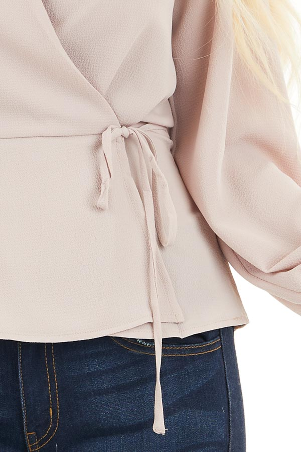 Latte Long Sleeve Blouse with Wrap Style Front and Self Tie detail