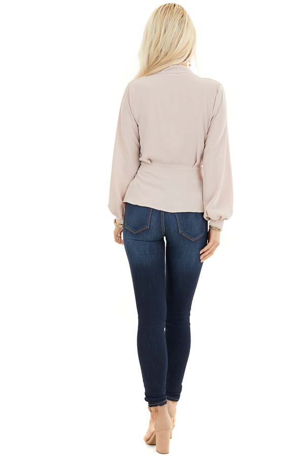 Latte Long Sleeve Blouse with Wrap Style Front and Self Tie back full body
