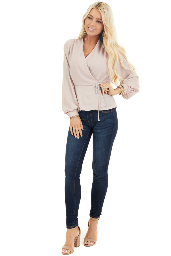 Latte Long Sleeve Blouse with Wrap Style Front and Self Tie front full body