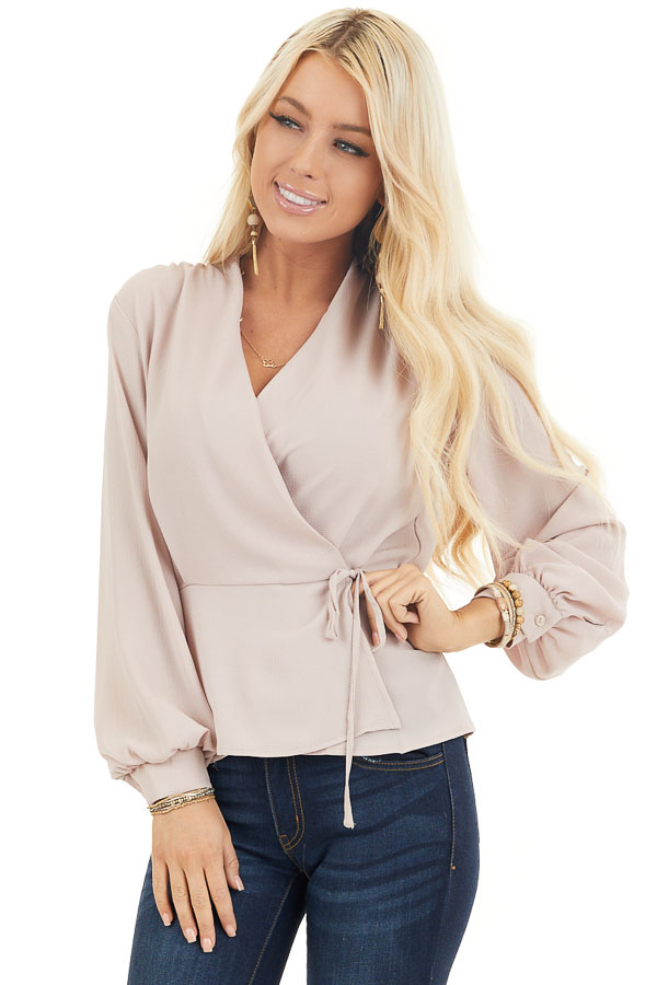 Latte Long Sleeve Blouse with Wrap Style Front and Self Tie front close up