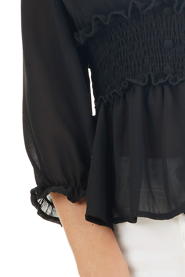 Black Deep V Neck Blouse with Smocking and Button Details detail