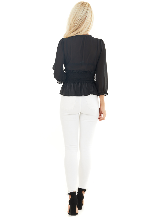 Black Deep V Neck Blouse with Smocking and Button Details back full body