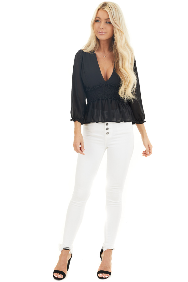 Black Deep V Neck Blouse with Smocking and Button Details front full body