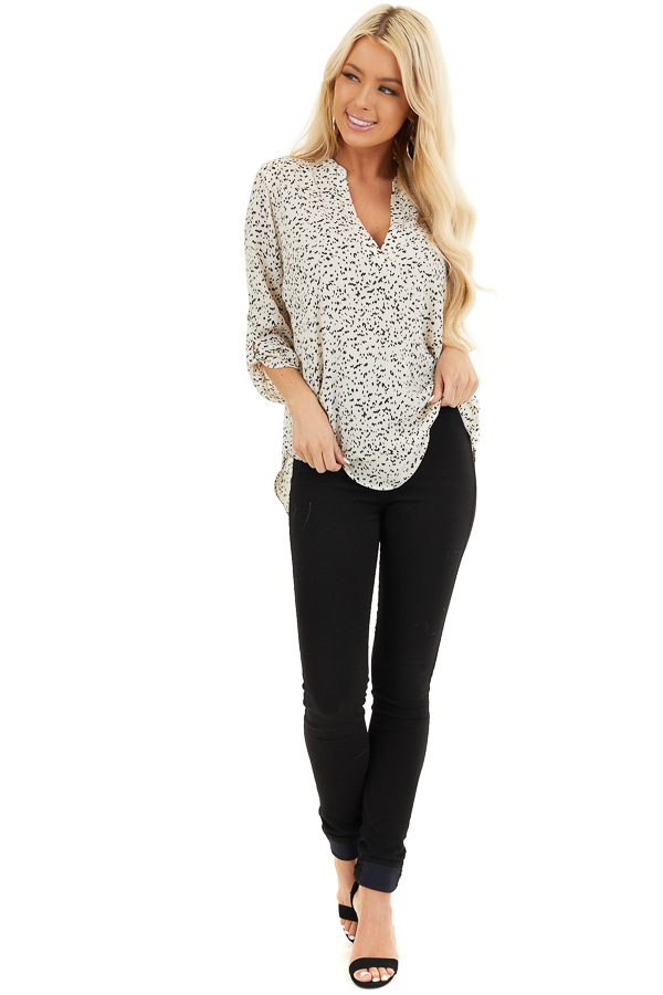 Cream and Black Speckled Woven Top with 3/4 Sleeves front full body