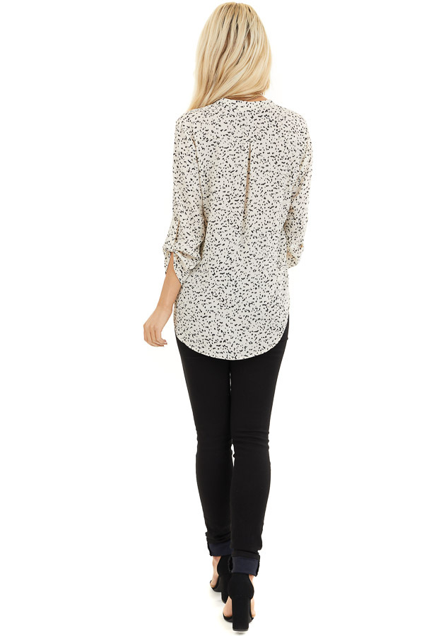 Cream and Black Speckled Woven Top with 3/4 Sleeves back full body