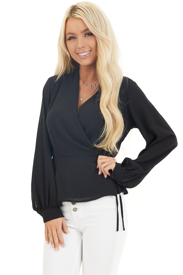 Black Long Sleeve Blouse with Wrap Style Front and Tie front close up