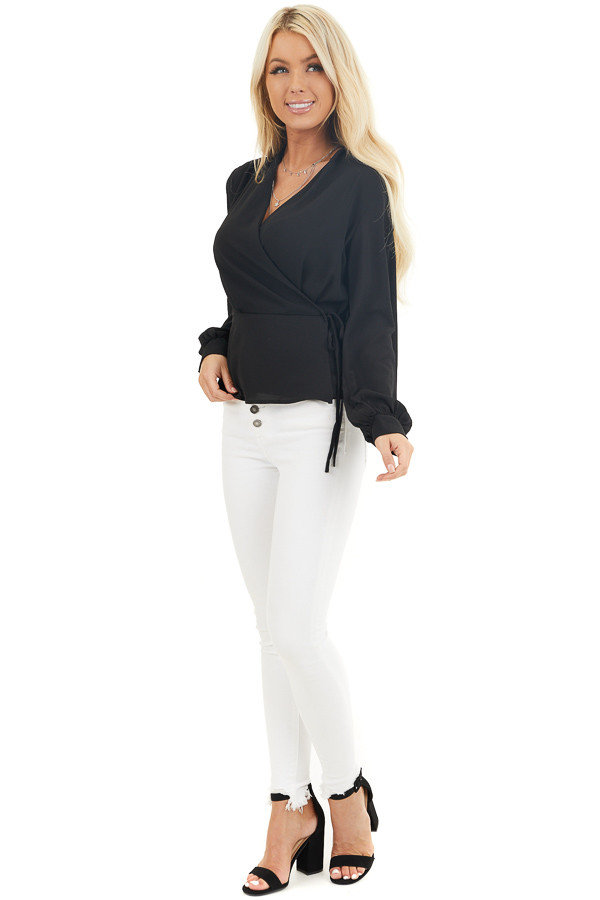 Black Long Sleeve Blouse with Wrap Style Front and Tie front full body