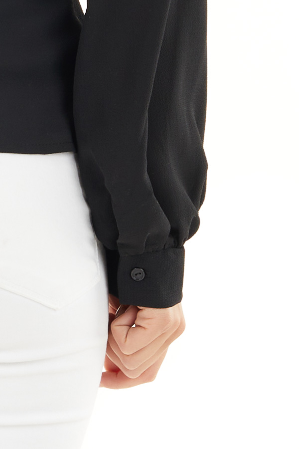 Black Long Sleeve Blouse with Wrap Style Front and Tie detail