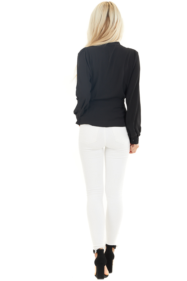 Black Long Sleeve Blouse with Wrap Style Front and Tie back full body