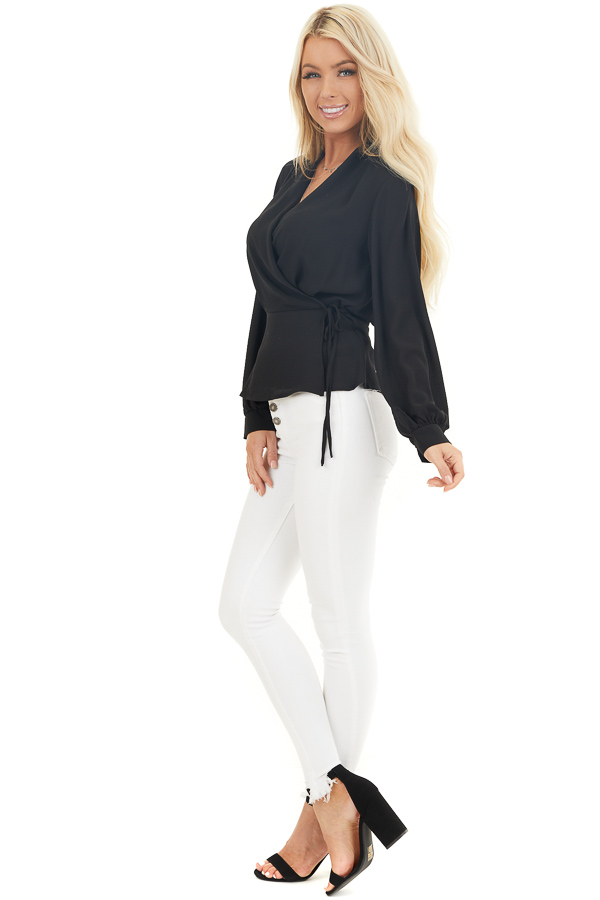 Black Long Sleeve Blouse with Wrap Style Front and Tie side full body